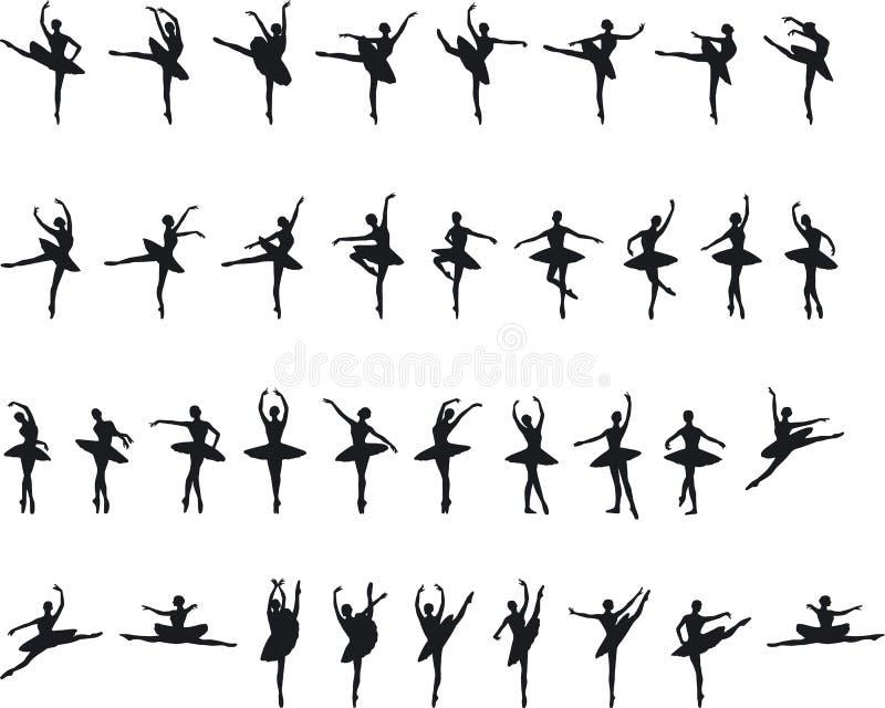 Ballett Silouettes lizenzfreie stockbilder