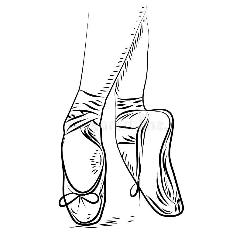 Ballett-Tanz Vektorballettschuhe, lokalisierte Illustration Skizzenschattenbildhand gezeichnet stock abbildung