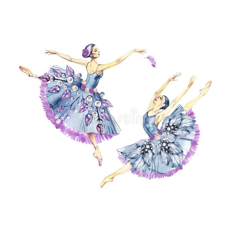 Ballettlogo Handgemalte Illustration des Aquarells lokalisiert auf hellem Hintergrund Ballett-Reihe stock abbildung