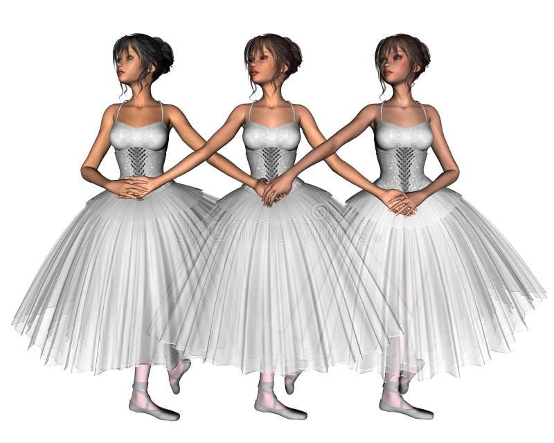Balletto del lago swan - tre cygnets royalty illustrazione gratis