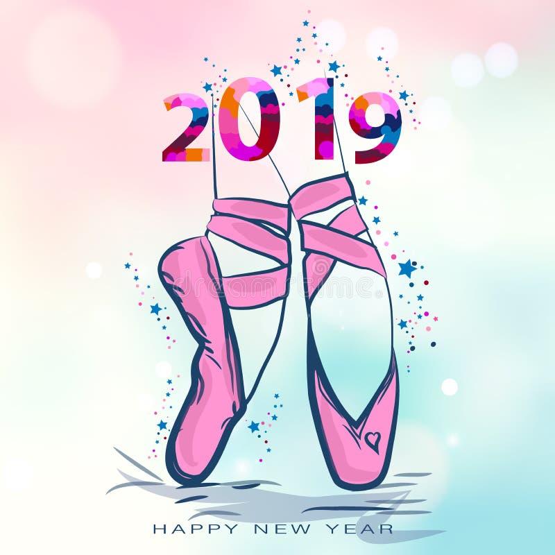 Ballettschuhe Auch im corel abgehobenen Betrag Weihnachtskarte mit pointe Schuhen Glückliches neues 2019-jähriges Vektorillustrat lizenzfreie abbildung