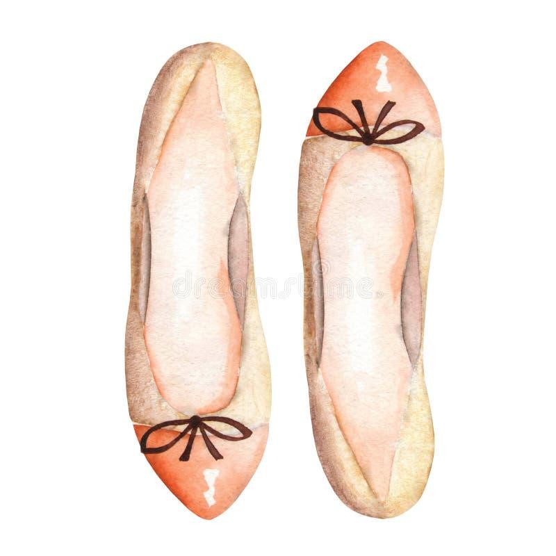 Ballettschuhe der braunen Frauen der Illustration mit einem Bogen Von Hand gezeichnet gemalt in einem Aquarell auf einem weißen H vektor abbildung