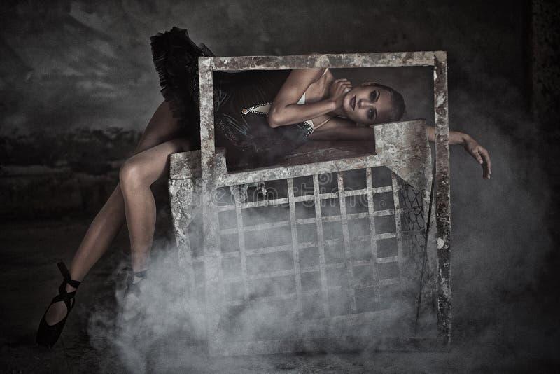 Balletttänzer im Rahmen lizenzfreie stockfotos