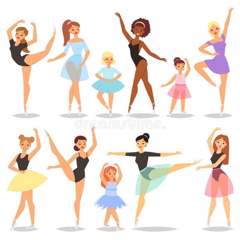 Balletttänzer-Vektorballerina-Charaktertanzen im Ballettrockballettröckchen-Illustrationssatz der klassischen Balletttänzerfrau lizenzfreie abbildung