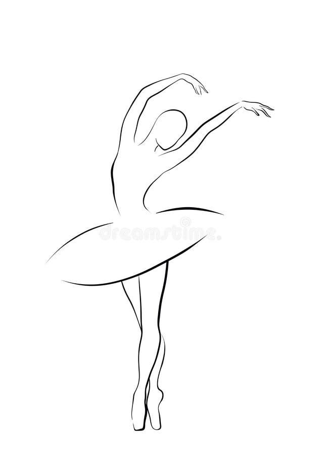 Balletttänzermädchen - Schwarzweiss-Entwurf lizenzfreies stockbild