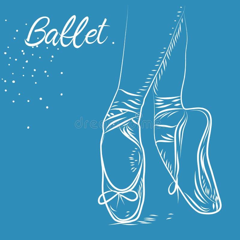 Balletttanz-Studiosymbol Skizzenschattenbildhandgezogene pointes Schuhe, stock abbildung