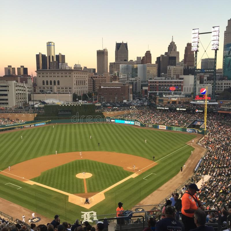 Ballgame at Comerica Park royalty free stock images