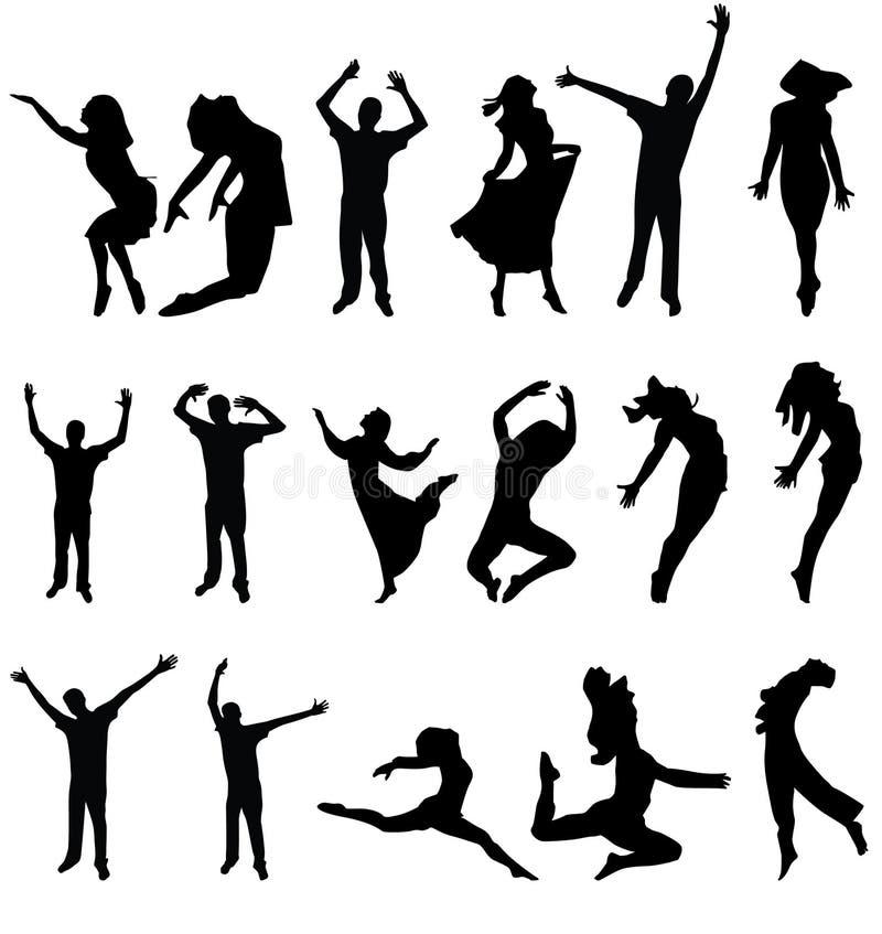 Balli la siluetta di molta gente. vector l'illustrazione immagine stock libera da diritti