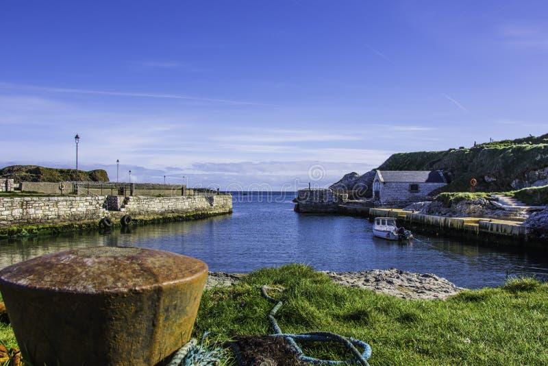 Ballintoy港口,爱尔兰 库存照片