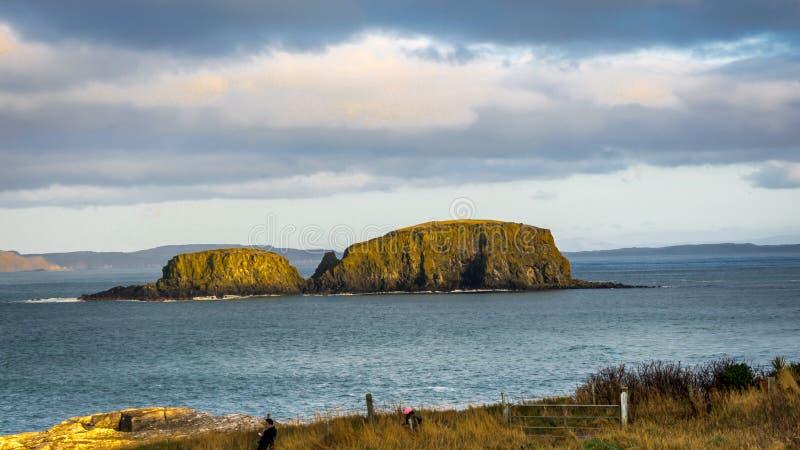 Ballintoy, a República da Irlanda, Reino Unido - 28 de dezembro de 2016: Um par turista que fotografa a ilha dos carneiros perto  imagem de stock