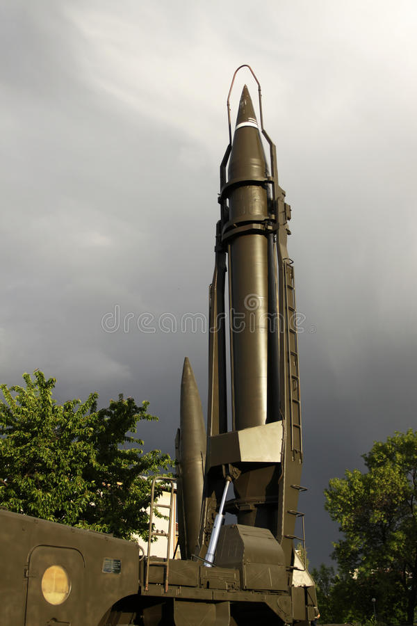Ballistic missile. Soviet ballistic missile of the 80-th stock photo