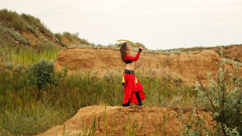 Ballo con una spada Stile tribale fotografia stock libera da diritti