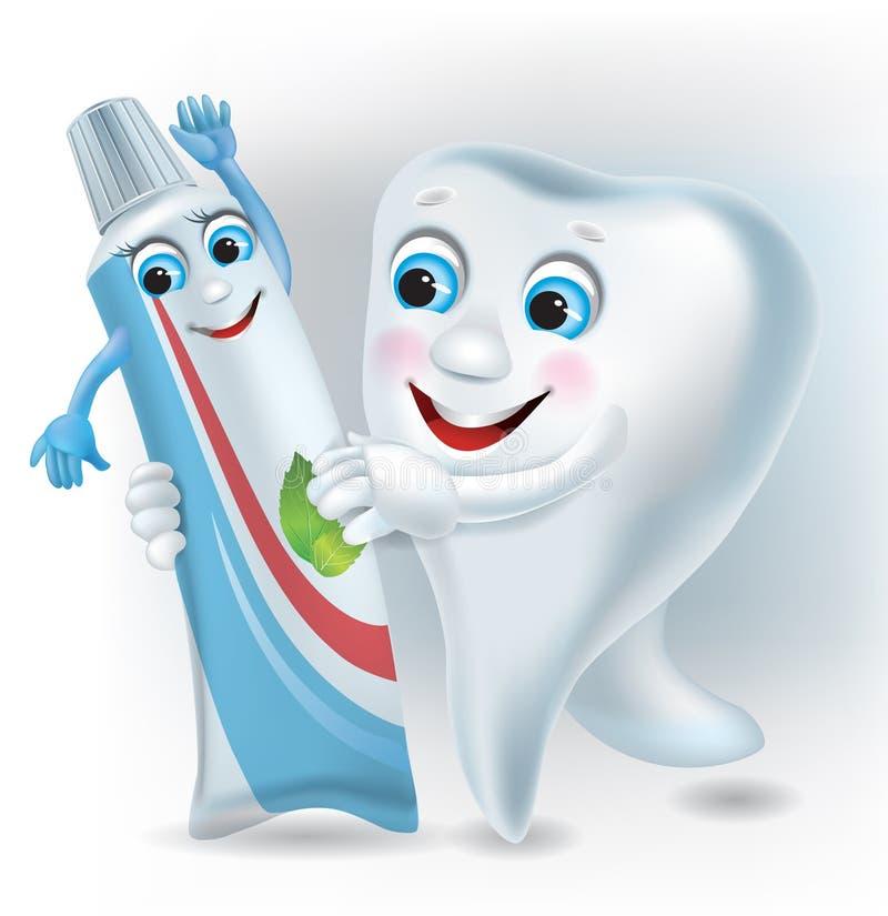 Ballo del dente e del dentifricio in pasta illustrazione vettoriale