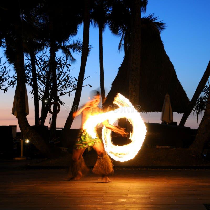 Ballo del fuoco del Fiji fotografie stock libere da diritti