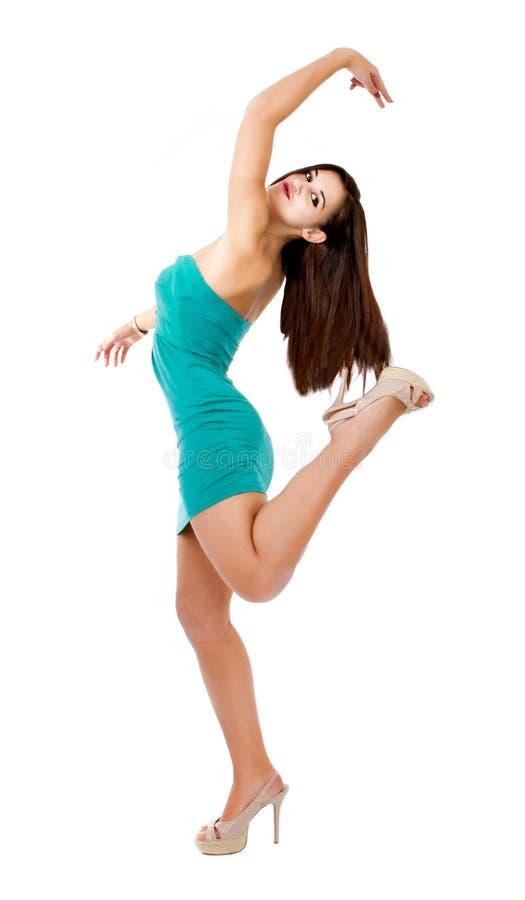Ballo della donna nel fondo bianco fotografie stock