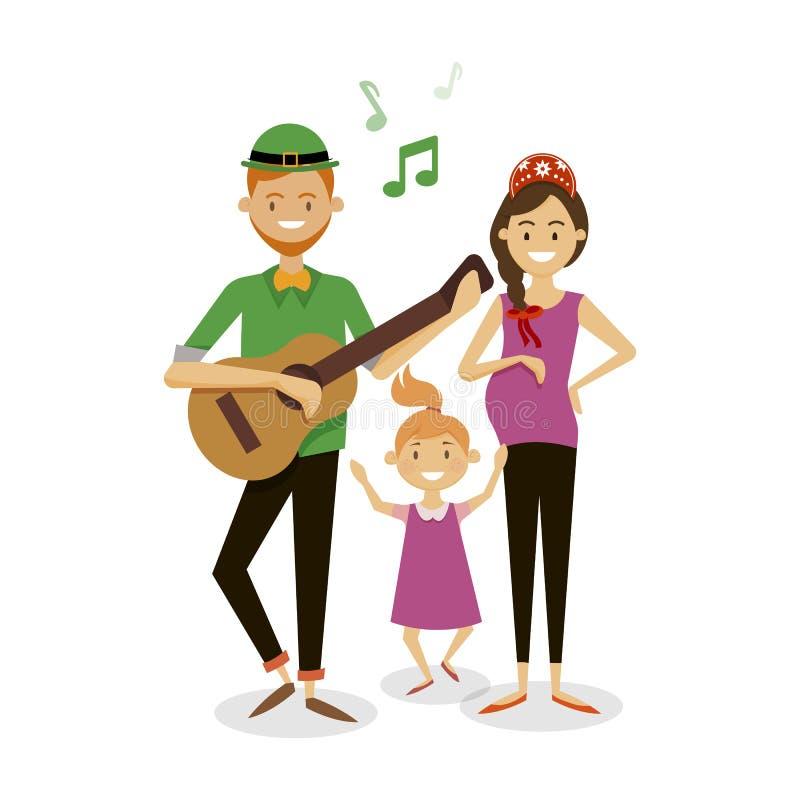 Ballo della famiglia e felice royalty illustrazione gratis