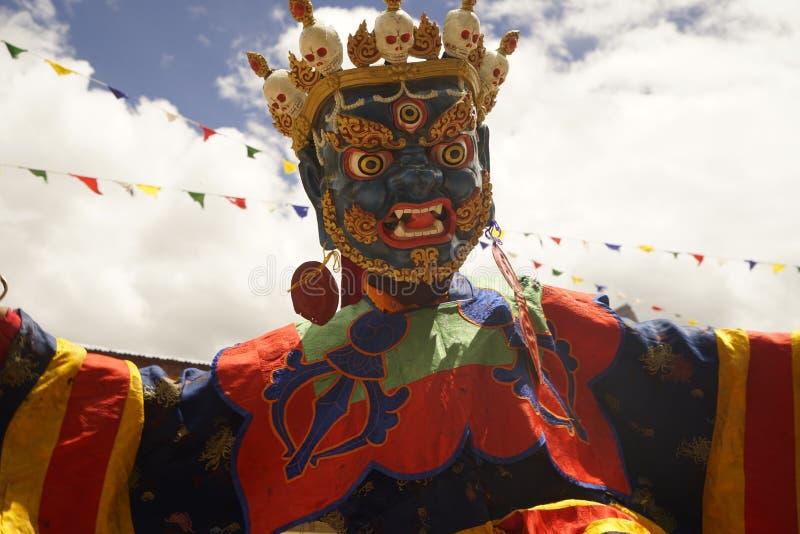 Ballo della maschera di ballo di Cham di buddismo tibetano in Ladakh, India del Nord immagine stock libera da diritti