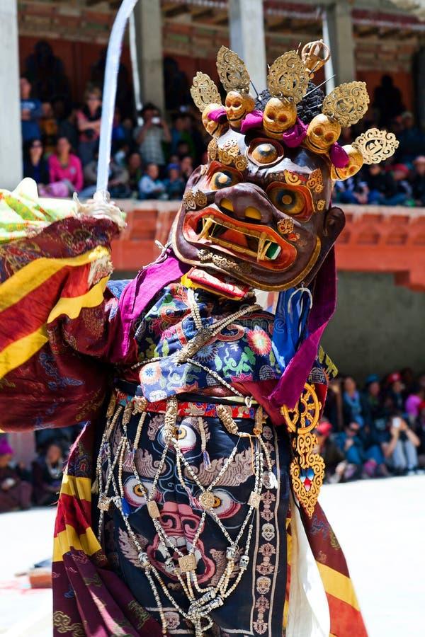 Ballo di Cham in Lamayuru Gompa in Ladakh, India del nord immagine stock libera da diritti