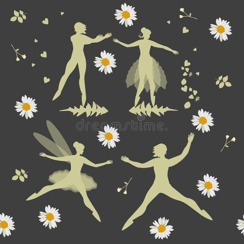 Ballo di notte dei fatati fra i fiori Illustrazione magica di vettore con le belle siluette e margherite su fondo nero royalty illustrazione gratis