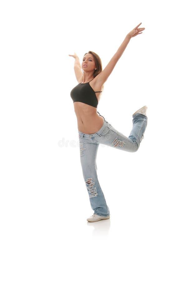 Ballo moderno di giovane jazz femminile di dancing immagini stock libere da diritti