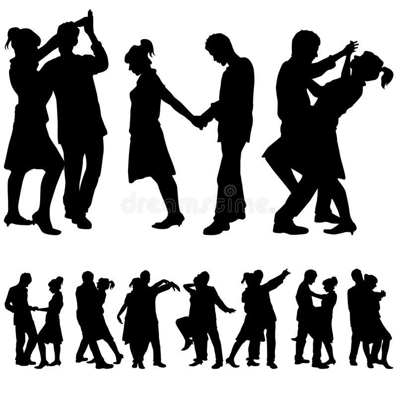 Ballo romantico delle coppie illustrazione vettoriale