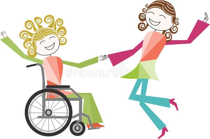 Ballo in sedia a rotelle illustrazione vettoriale