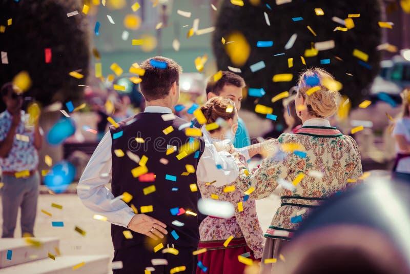 Ballo tradizionale al festival croato in Zadar fotografie stock