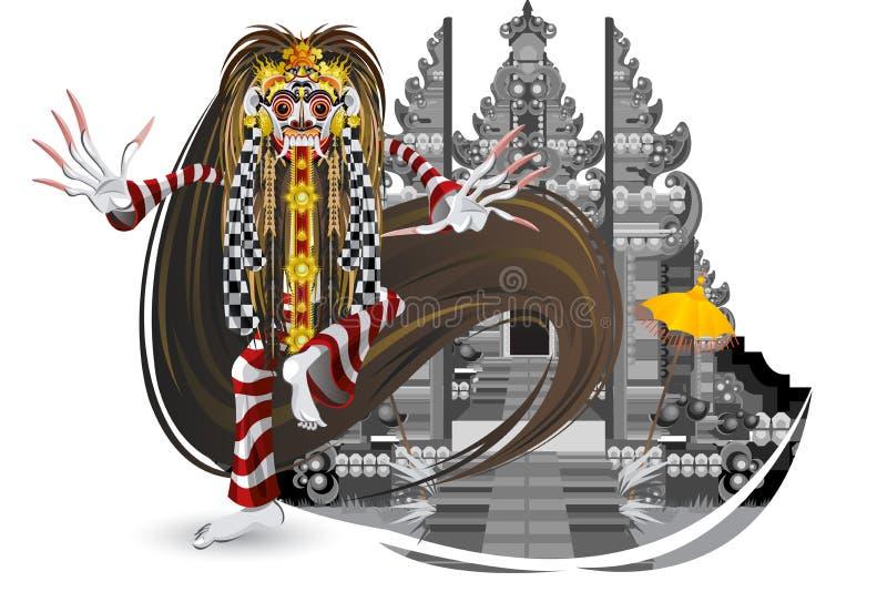 Ballo tradizionale del Bali della perdita di Rangda illustrazione di stock