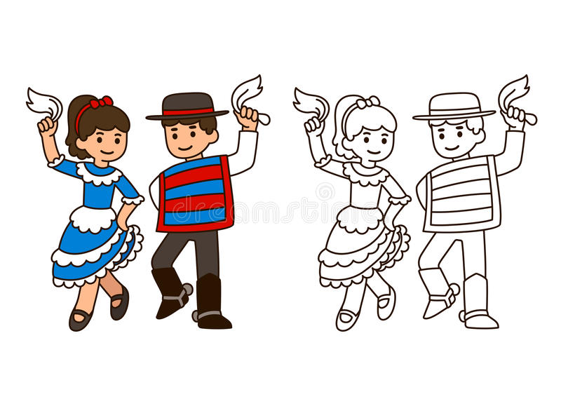 Ballo tradizionale del Cile royalty illustrazione gratis