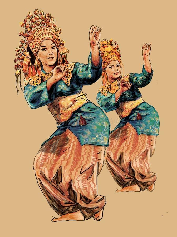 Ballo tradizionale Makan Sirih Riau Indonesia illustrazione di stock