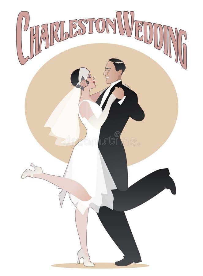 Ballo Wedding La coppia elegante che indossa lo stile 20s copre il dancing royalty illustrazione gratis