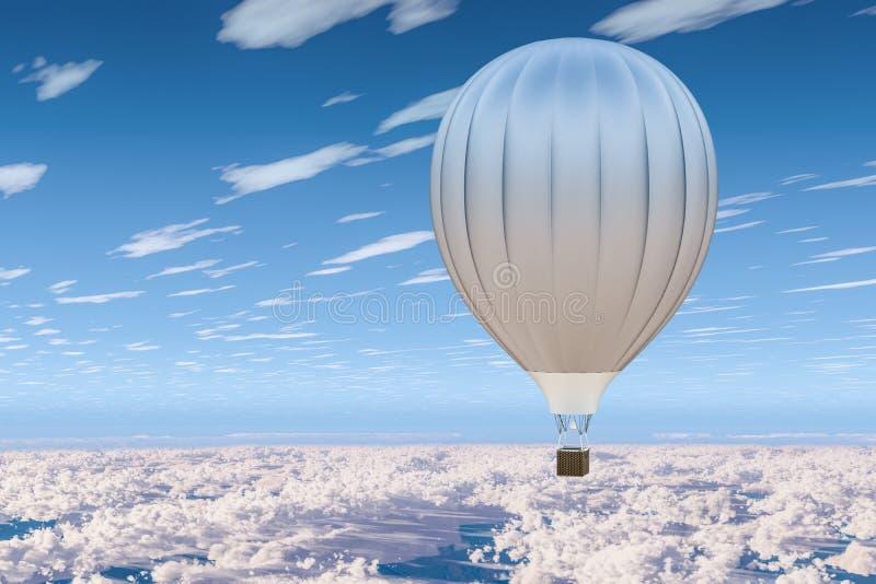 Ballon à air chaud, aérostat dans le ciel bleu au-dessus des nuages rendu 3d illustration libre de droits