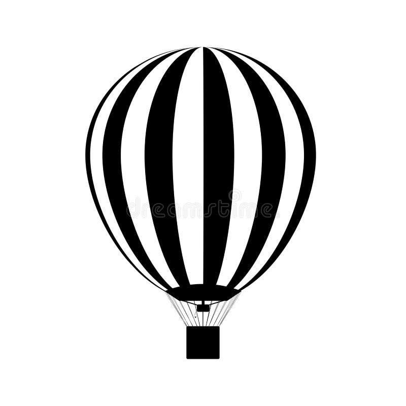Ballon à air chaud avec des brûleurs à propane allumés dans lui Silhouette Vecteur illustration de vecteur