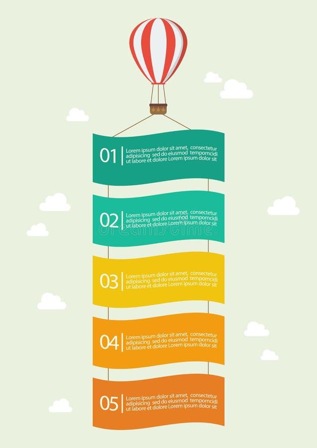 Ballon à air chaud avec la bannière infographic illustration stock