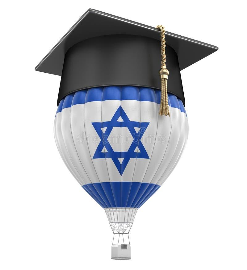 Ballon à air chaud avec le chapeau israélien de drapeau et d'obtention du diplôme illustration libre de droits
