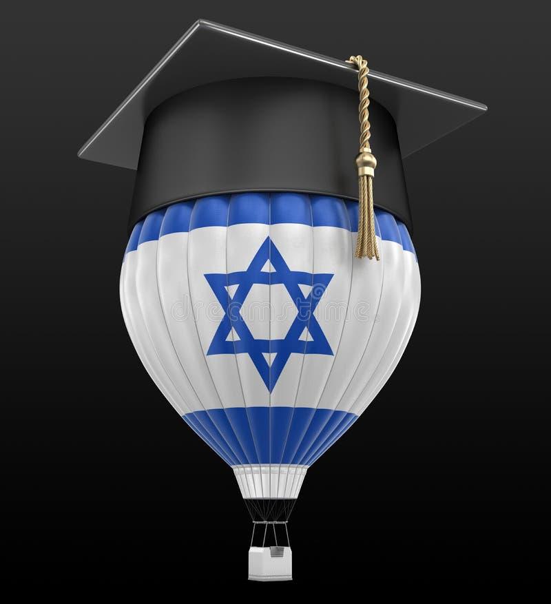 Ballon à air chaud avec le chapeau israélien de drapeau et d'obtention du diplôme illustration de vecteur