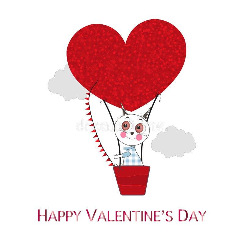 Ballon à air chaud avec les coeurs brillants rouges et les chats mignons Carte de voeux heureuse de jour du `s de valentine illustration stock