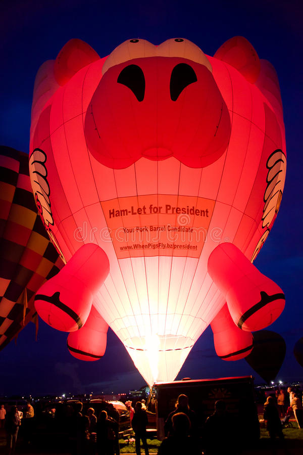 Ballon à air chaud de porc de vol image stock