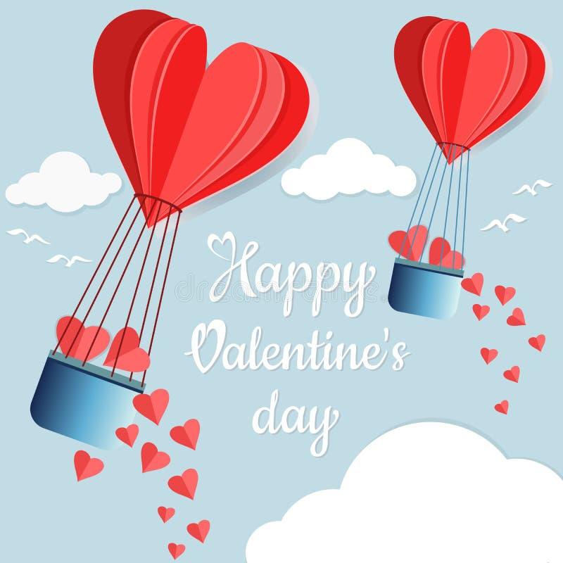 Ballon à air chaud de vol de forme de coeur, style de coupe de papier pour la carte de valentine illustration libre de droits