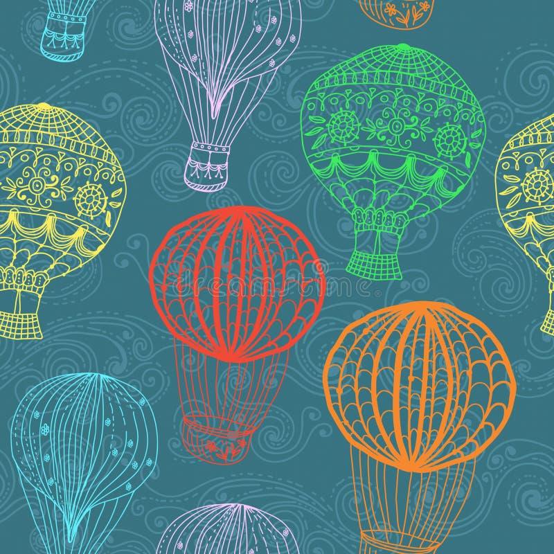 Ballon à air chaud en ciel, fond sans couture illustration de vecteur