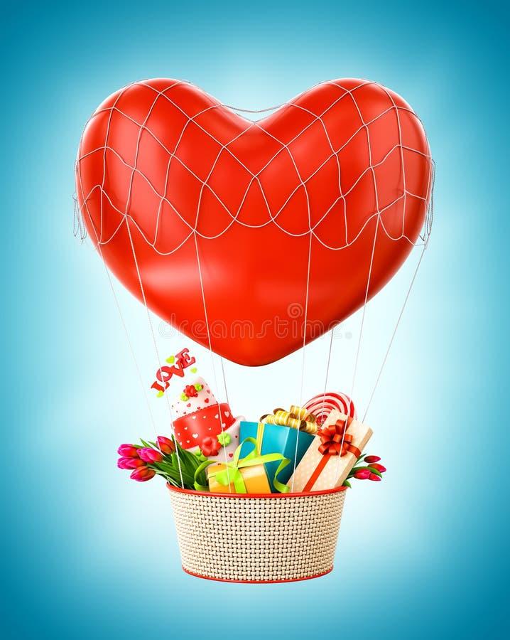 Ballon à air chaud mignon avec un panier plein des cadeaux et des bonbons illustration de vecteur