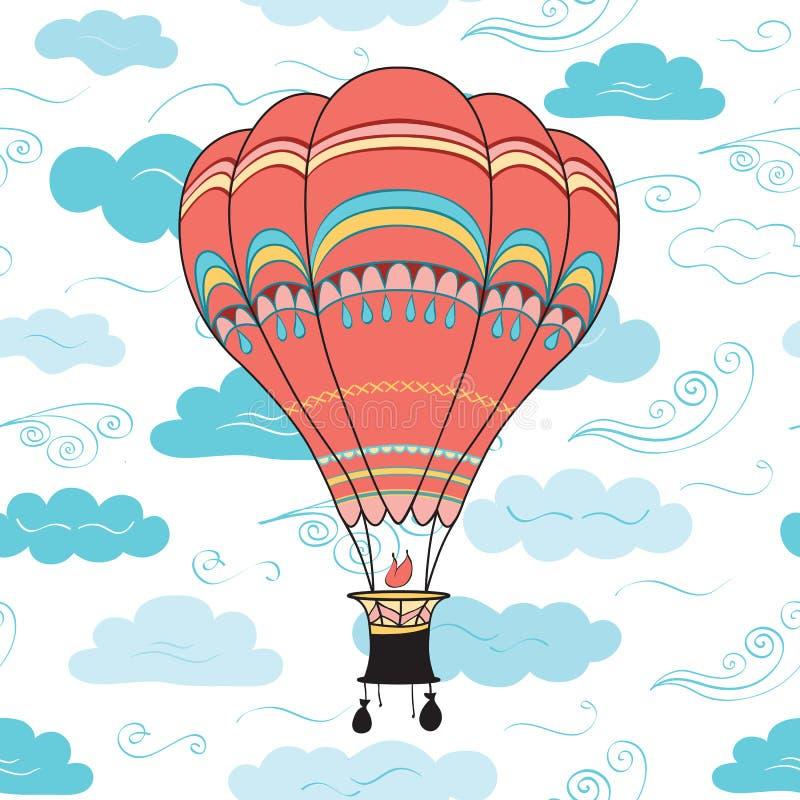 Download Ballon à Air Chaud, Nuages Et Modèle Sans Couture De Vent Illustration de Vecteur - Illustration du contexte, panier: 77155987