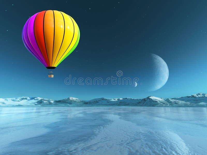 Ballon à air chaud surréaliste, planète étrangère illustration de vecteur