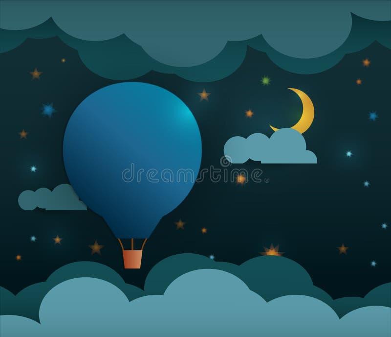 Ballon à air et lune papier-chauds abstraits avec des étoiles illustration stock