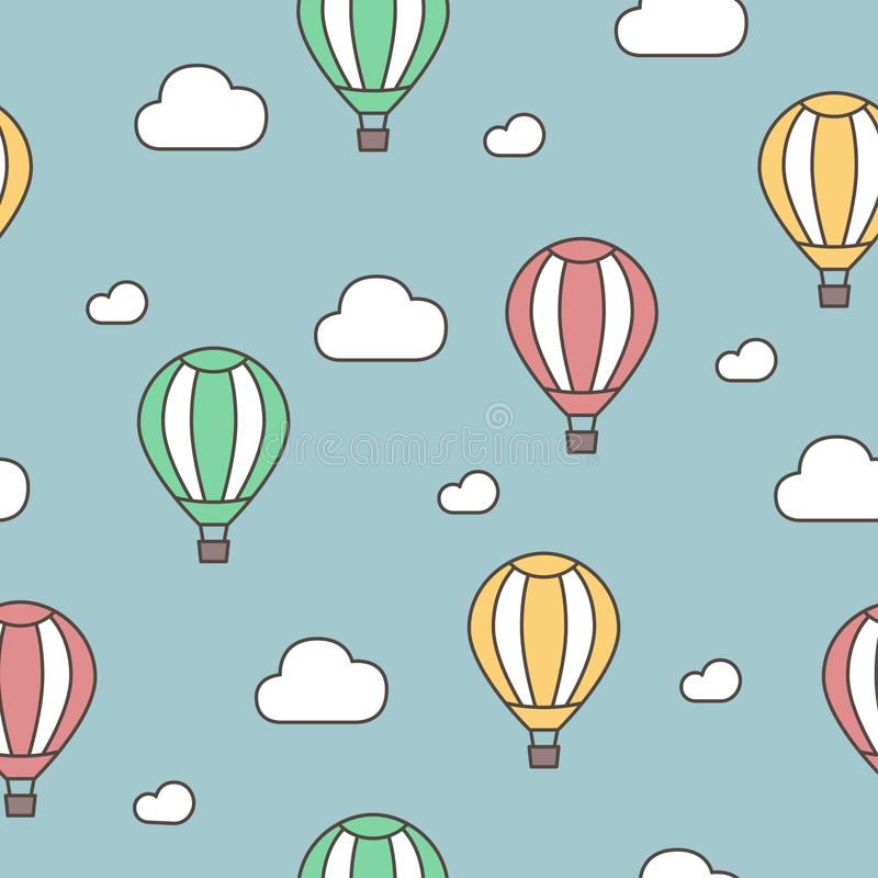 Ballon à air et nuages chaud Configuration sans joint Bande dessinée tirée par la main de griffonnage de vecteur photos stock