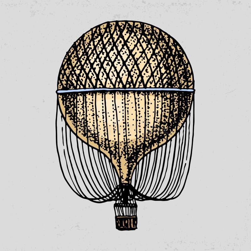 Ballon à air ou illustration d'aérostat Pour le voyage gravé tiré par la main dans le vieux style de croquis, transport de vintag illustration de vecteur