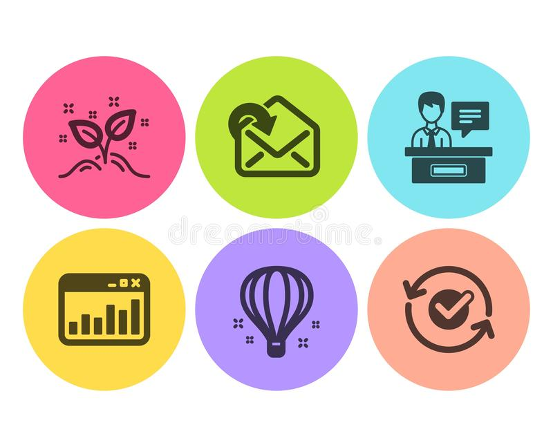 Ballon à air, statistiques de commercialisation et ensemble d'icônes d'exposants Recevez le courrier, le concept de démarrage et  illustration stock