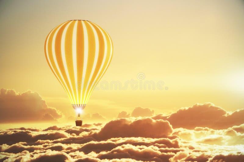 Ballon au-dessus des nuages au coucher du soleil photos libres de droits
