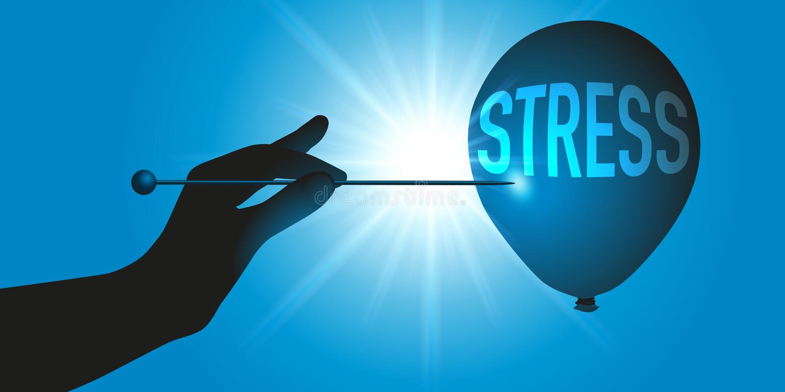 A hand points to a needle on a ball on which the word stress is written. Concept to remove stress, with a hand holding a needle to burst a balloon symbolizing vector illustration