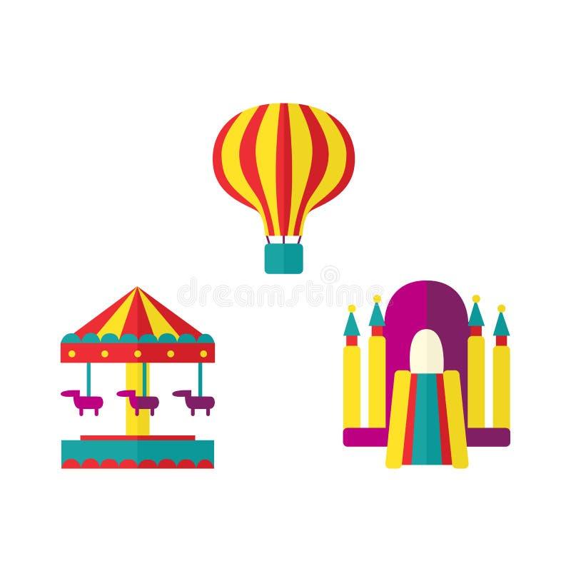 Ballon, bouncykasteel en de reeks van het carrouselpictogram vector illustratie